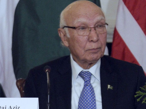 'Don't blame one country for terror', says Pakistan's Sartaj Aziz