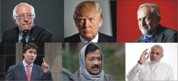 Trump, Modi, Trudeau, Kejriwal, Bernie Sanders, Jeremy Corbyn. Weird combo? Yes, but there's a message.