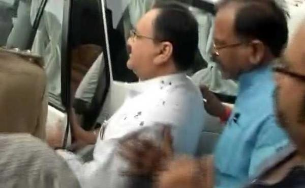 Angry AIIMS Students Throw Ink At Health Minister JP Nadda