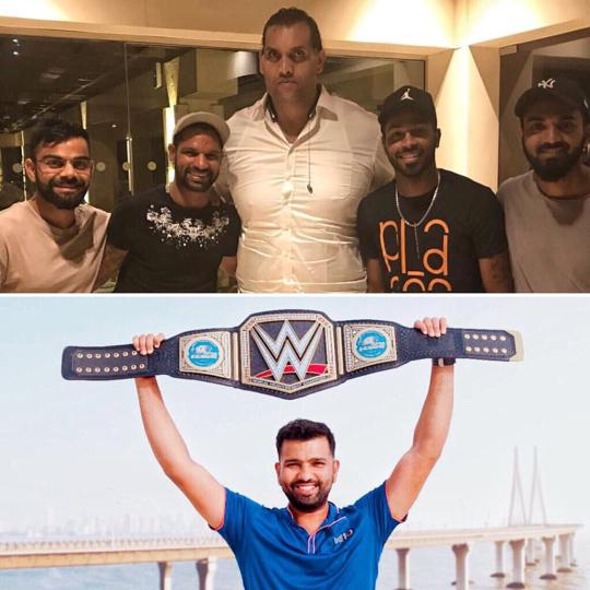 Rohit Sharma trolls Virat Kohli & Co after they meet The Great Khali
